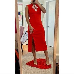 Red Vintage Maxi Dress with White Detail